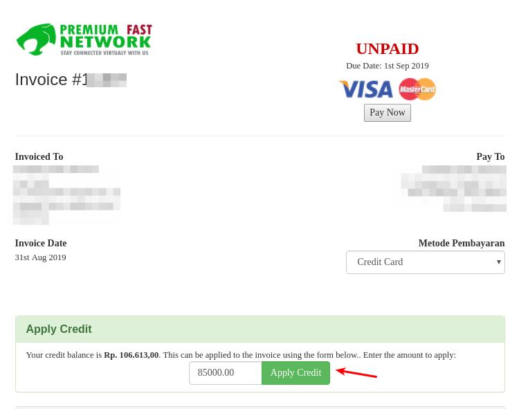 Halaman Tagihan Invoice