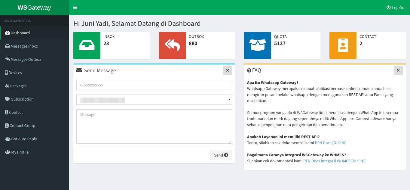 1.0 - Halaman Depan / Dashboard WSGateway